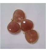 Gold plated heart shape pink moonstone fasct